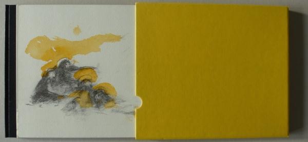 50 Expl., num., sign., auf dem Cover ein handkolorierter Offsetdruck auf Bütten, innen acht handkolorierte Farblithografien auf Bütten, Format 22 x 27 cm, 26. S., Goldprägung auf dem Lederrücken, im Schuber, Berlin 1997 <br><h3>250 €</h3>