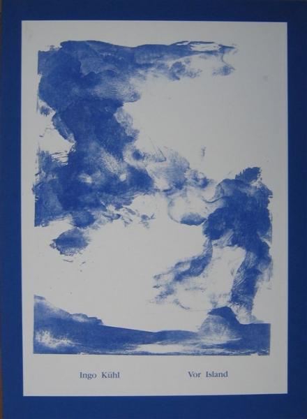 20 Expl., Mappe mit 3 vierfarb., 2 fünffarb. Lithografien und einer einfarb. Lithografie auf dem Titel, 60 x 42 cm, Text Ingo Kühl (deutsch/englisch, Übersetzung ins Englische Barry McDaniel), Druck Saal-Presse Bergsdorf, * Berlin 1996<br><h3>500 €</h3>